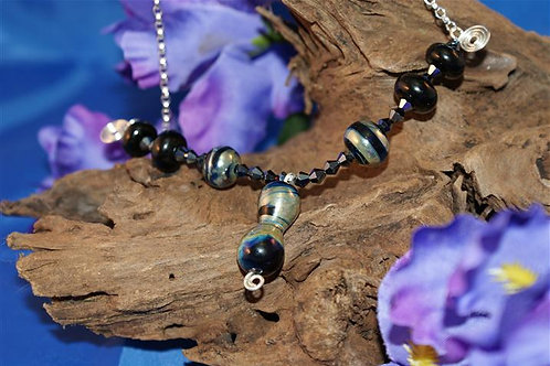 Dumbell Focal Bead and Matching Spacers Necklace