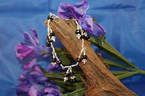 Onyx & Swarovski Crystal Wound Bracelet