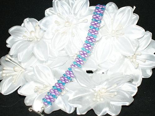 Lilac & Turquiose SuperDuo Bracelet