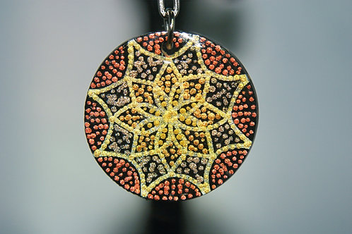 Metallic Flower Dot Mandala Keychain