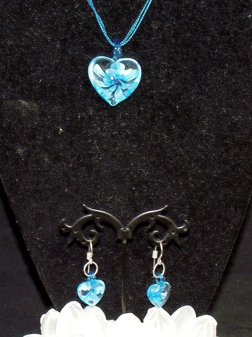 Turquoise Flower Heart Set