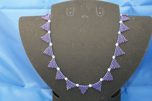 Hand Woven 'Bunting' Necklace with Swarovski Crystsl insets