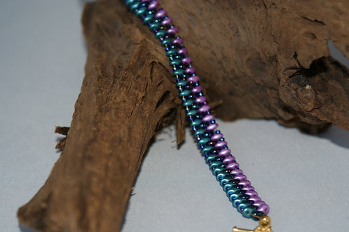 Teal, Blue & Lilac SuperDuo Bead Bracelet