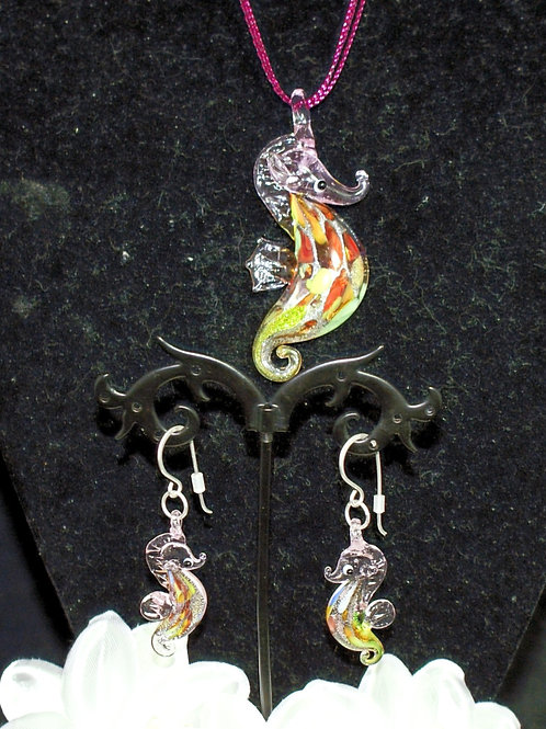 Pink Seahorse with Multicoloured Belly Set