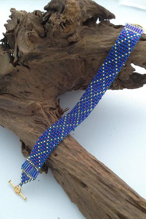 Blue/Purple/Gold Hand Woven Seed Bead Bracelet
