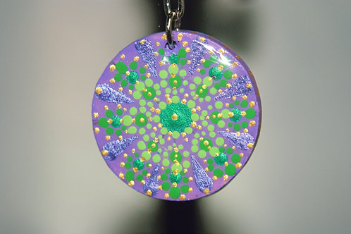 Purple & Green Dot Mandala Keychain