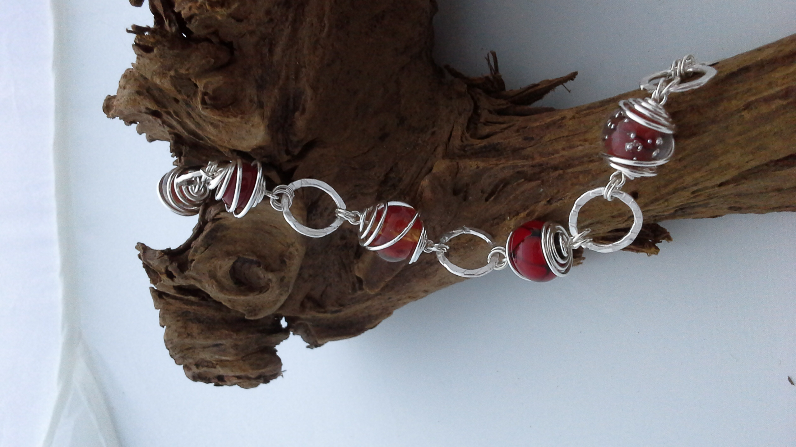 Red Caged Bead Bracelet
