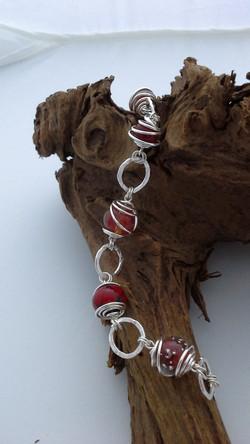 Red Caged Bead Bracelet