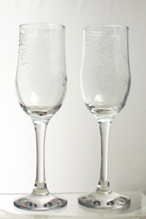 Love, Love, Love Champagne Flutes (Pair)