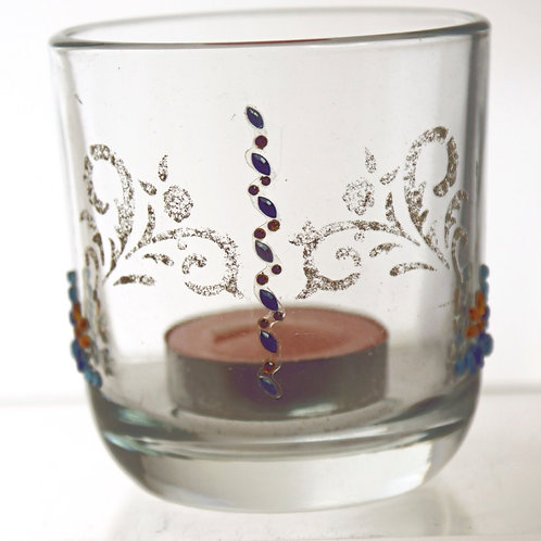 Yellow, Blue & Gold Decorated Tealight Tumbler