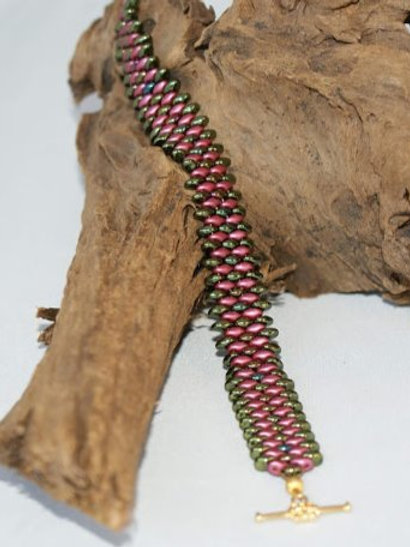 Olive Green & PlumSuperDuo Bracelet