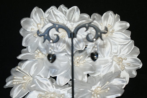 Small Smokey Black Swarovski Crystal Heart Earrings