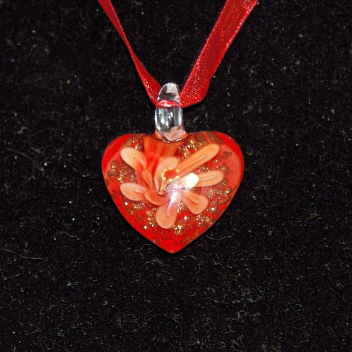 Red Heart with Flower Effect PENDANT ONLY