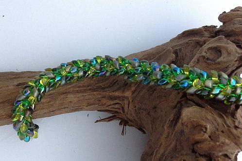 Green Kumihimo Snake Bracelet