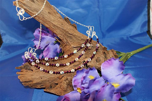Triple Bar with Purple & Clear Crystals Necklace