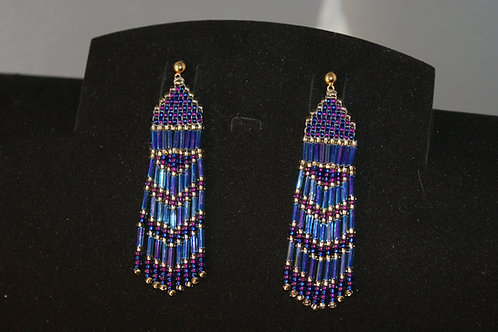 Blue/Purple/Gold Hand Woven Seed Bead Earrings
