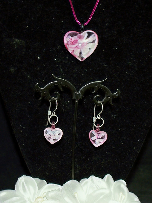 Pink Flower Heart Set