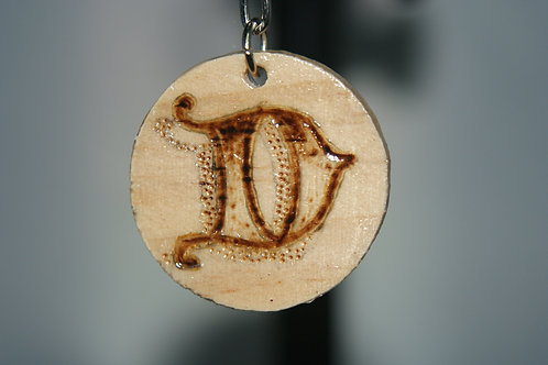 Initial 'D' Pyrography Keychain