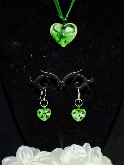 Green Flower Heart Set