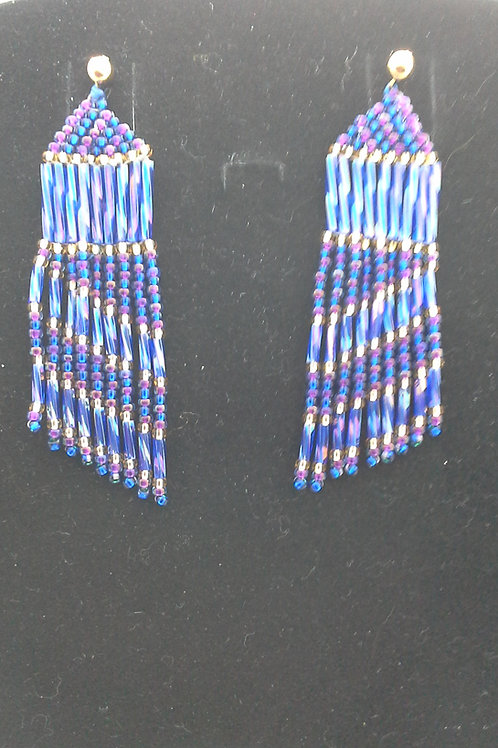Hand Woven Asymmetric Seed Bead Earrings