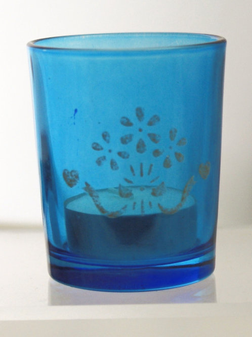 Blue Voitive Tealight Candle Glasses