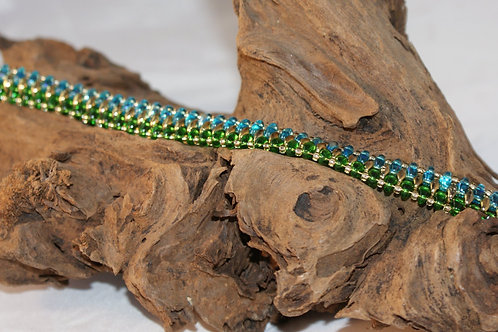 Transparent Blue & Green SuperDuo Breacelet with a touch of Gold