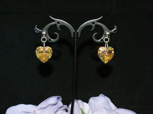 Large Swarovski Crystal Gold Heart Earrings