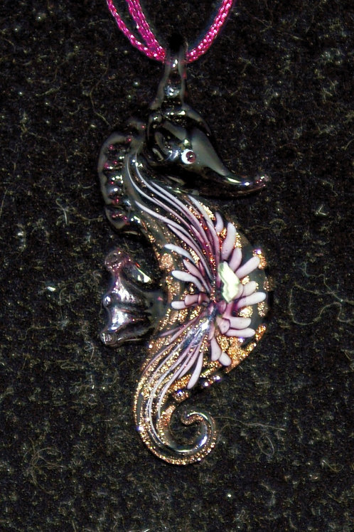 Deep Pink and Gold Seahorse PENDANT ONLY