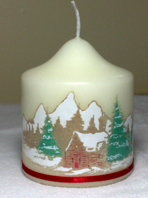 Mountain & Wooden Cabin Christmas Candle