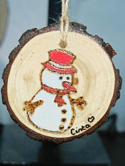 Snowman - Pyrography Tree Decoration