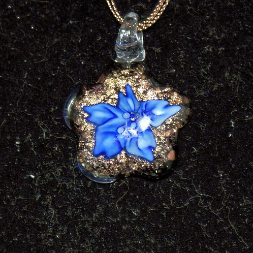 Blue Flower with Gold PENDANT ONLY