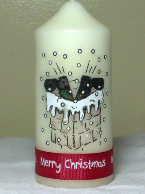 Santa's Stuck in the Chimney! Christmas Candle
