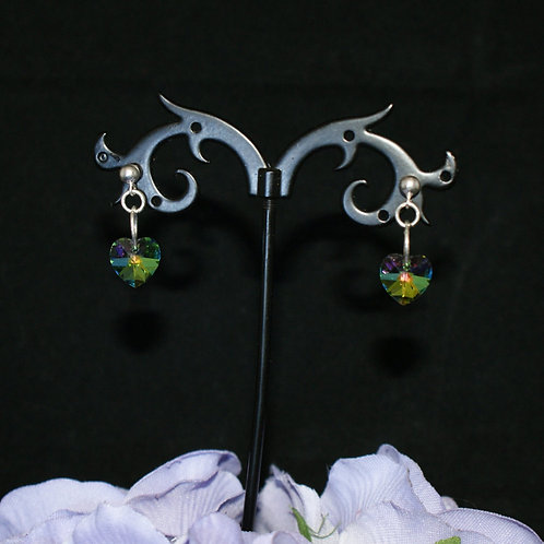 Small Green Based Swarovski Crystal Heart Earrings
