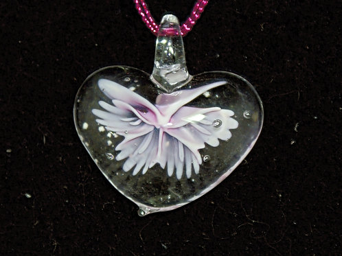 Clear Heart with Pink Wings PENDANT ONLY
