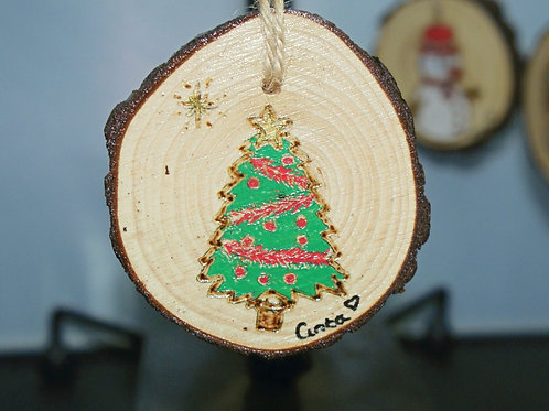 Christmas Tree - Pyrography Tree Decoration