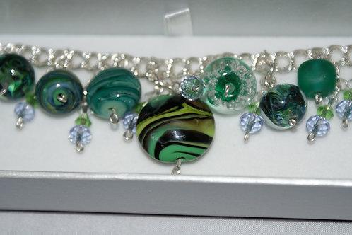 Orphan Green Lampwork beads with Swarovski Highlights Bracelet
