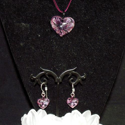 Deep Pink Flower Heart Set