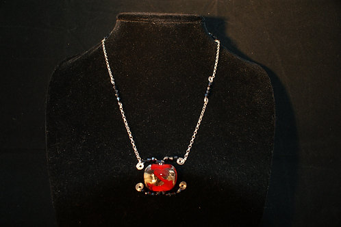 Red Focal Bead with Black Crystals Necklace