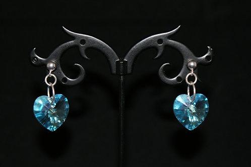 Large Topaz Blue Swarovski Crystal Heart Earrings