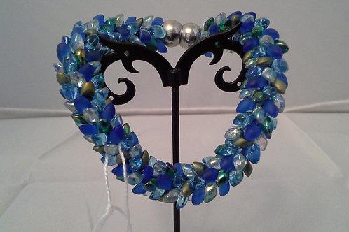 Blue, Green, and Multi Kumihimo Snake Bracelet