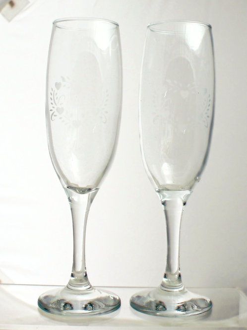 Heart Design Pair of Champagne Flutes