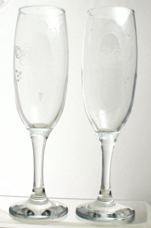 Flourished Heart Design Champagne Flutes (Pair)