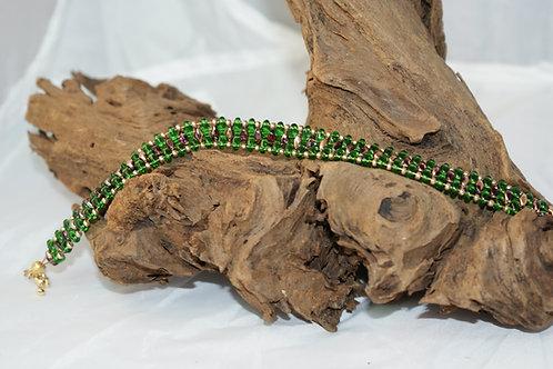 Trasparent Green, Brown & Gold SuperDuo Bracelet
