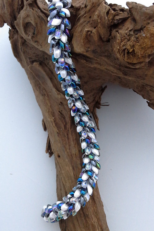 'Snowtime' Kumihimo Snake Bracelet