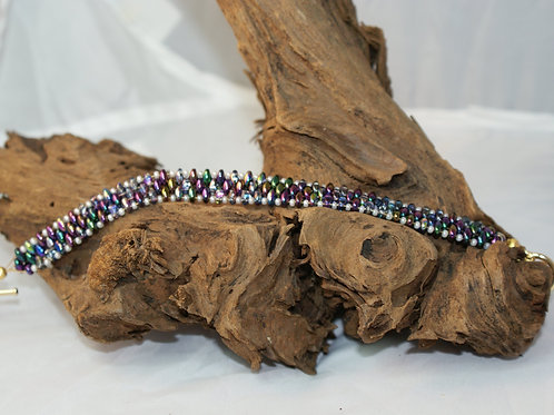 Multicolour Metallic SuperDuo Bead Bracelet