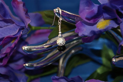 Onyx & Mirror Ball Earrings