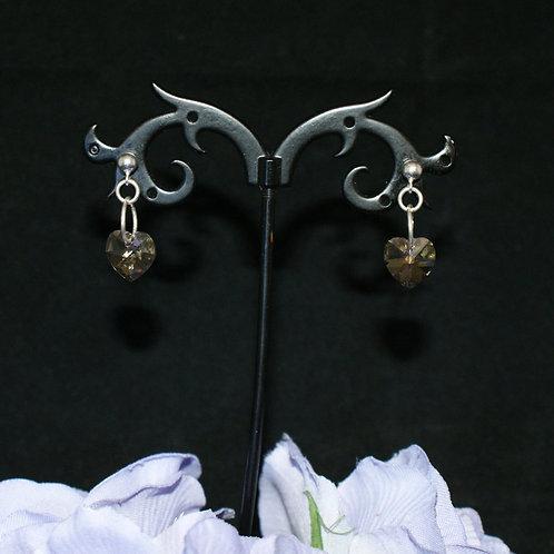 Small Pale Swarovski Crystal Heart Earrings