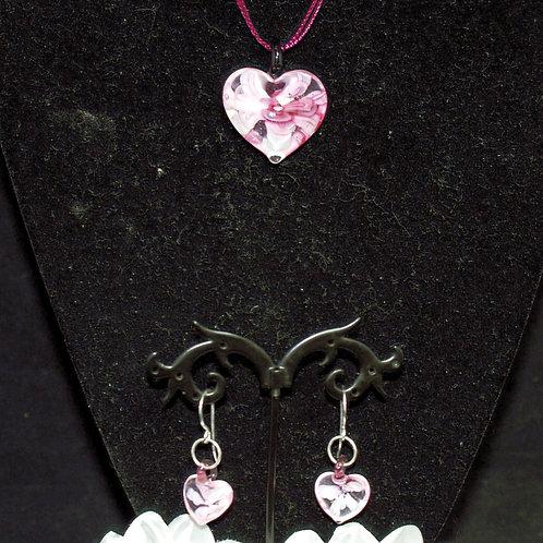 Pink Flower Heart Set