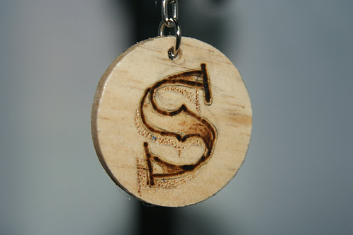 Initial 'S' Pyrography Keychain