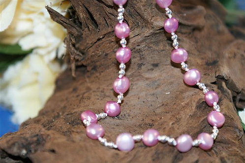 Pale Pink Freshwater Pearl & Sterling Silver Ball Necklace